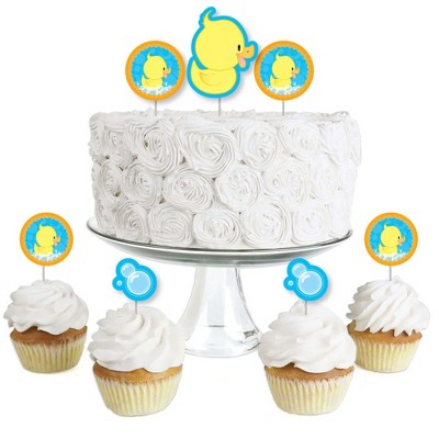 Big Dot of Happiness Ducky Duck - Dessert Cupcake Toppers - Baby Shower or Birthday Party Clear Treat Picks - Set of 24