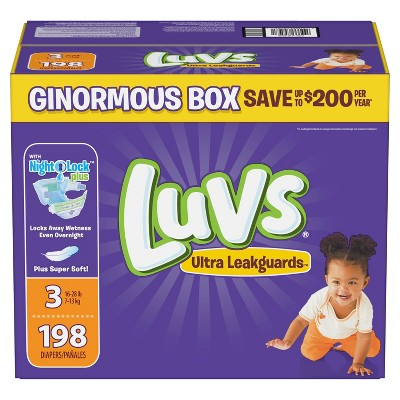 Luvs Disposable Diapers Ginormous Pack - Size 3 (198ct)