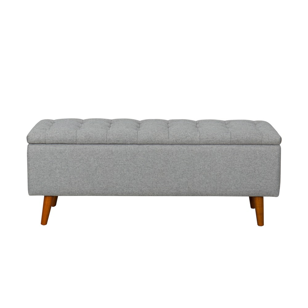 Image of Arlington Storage Bench with Button Tufting Light Gray - Homepop