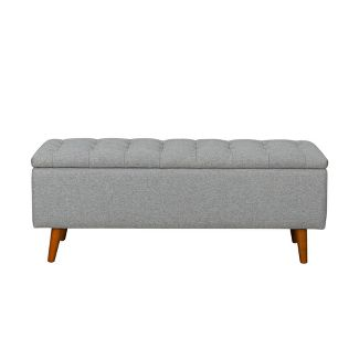 Arlington Storage Bench with Button Tufting Light Gray - Homepop