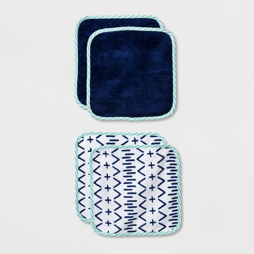 Image of Baby Boys' Gone Wild 4pk Washcloth Set - Cloud Island Blue