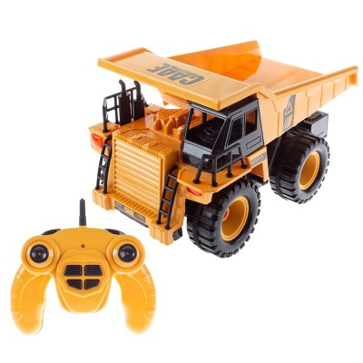 Remote Control Dump Truck- 1:22 Scale, Fully Functional RC Construction Toy Vehicle with Lifting Bed, Lights and Sounds for Kids by Toy Time