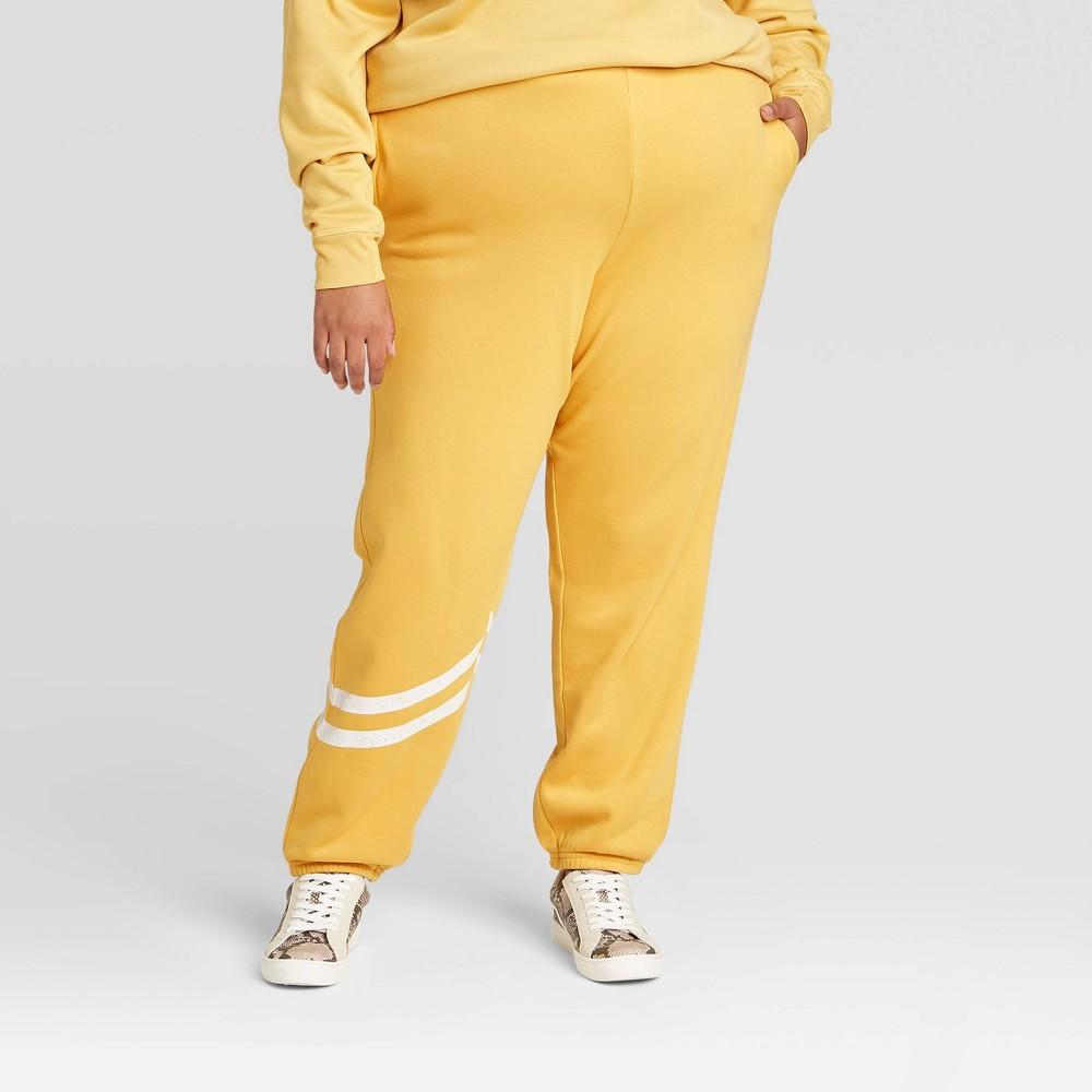 Women 39 S Plus Size Striped Jogger Pants Yellow 1x