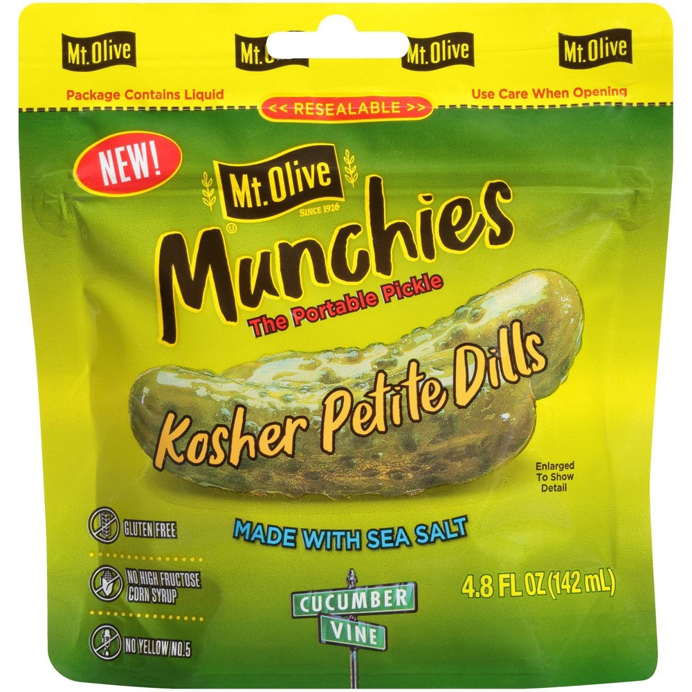 Mt Olive Munchies Kosher Petite Dill Pickle Pouch 4 8oz