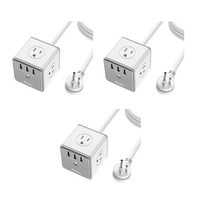 Huntkey 3 x SMC407 Surge Protecting Multiport Electrical 5-Foot Extension Cord Outlet Adapter Cube with 4 AC Plugs & 3 USB Ports, White/Grey (3 Pack)