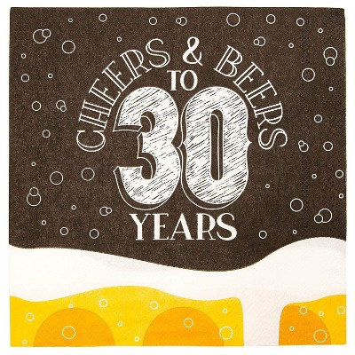 """Sparkle and Bash 100Pcs Cheers Beers to 30 Years Disposable Paper Napkin 6.5"""" for Birthday Party Décor Supplies"""