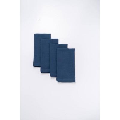 4pk Cotton Easy Care Napkins Blue - Threshold™