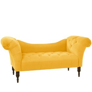 Button Tufted Chaise Settee Velvet Canary - Threshold , Adult Unisex, Velvet Yellow