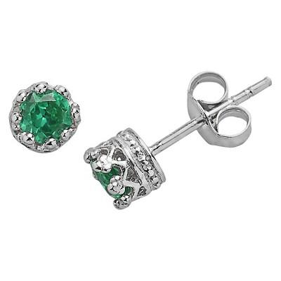 Sterling Silver 4mm Round-cut Crown Earrings