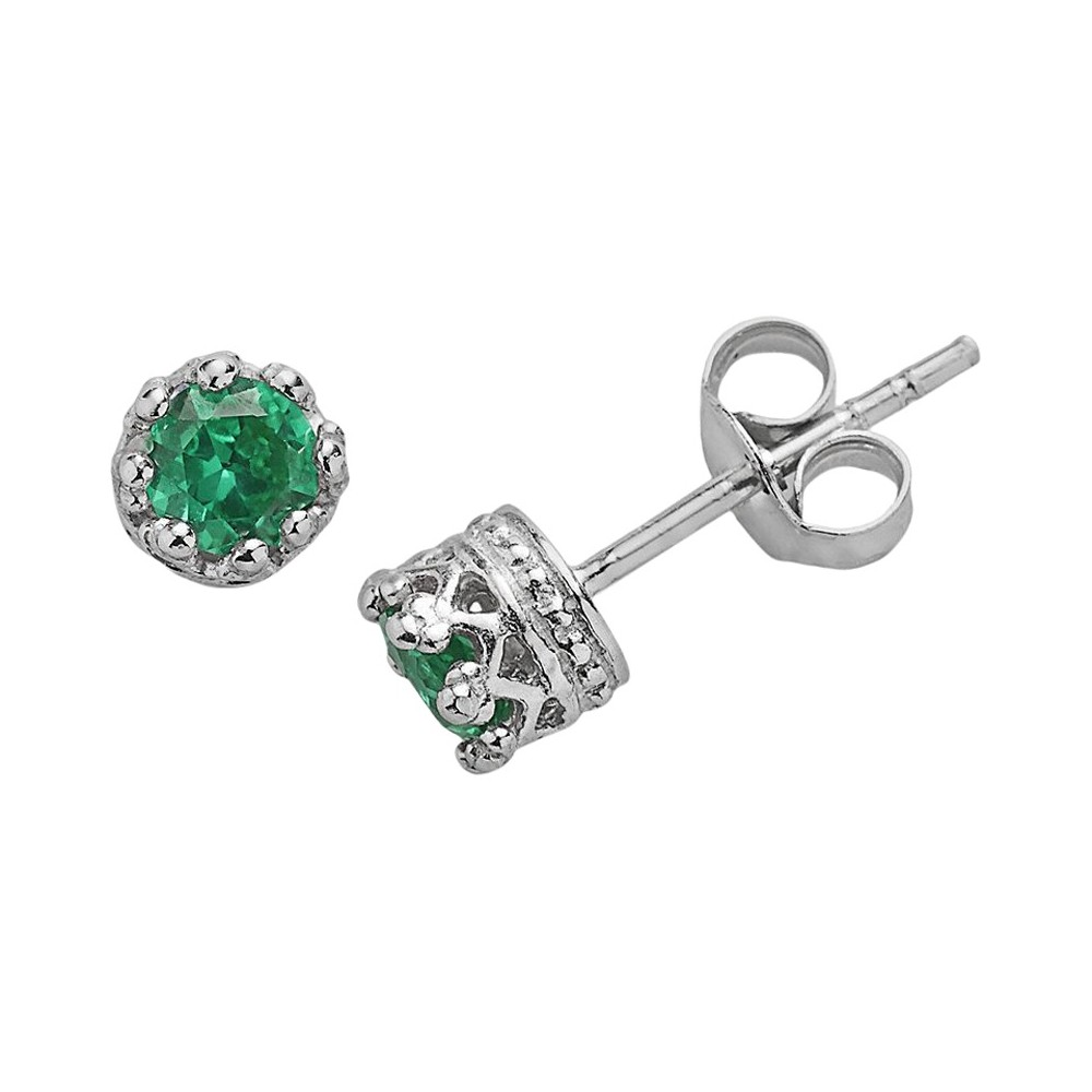1/2 Tcw Tiara Sterling Silver 4mm Round-cut Emerald Crown Earrings
