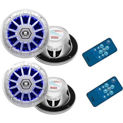 "4) BOSS Audio MRGB65 6.5"" 400W Boat Marine RGB LED Light Speakers Silver 2 Pairs"