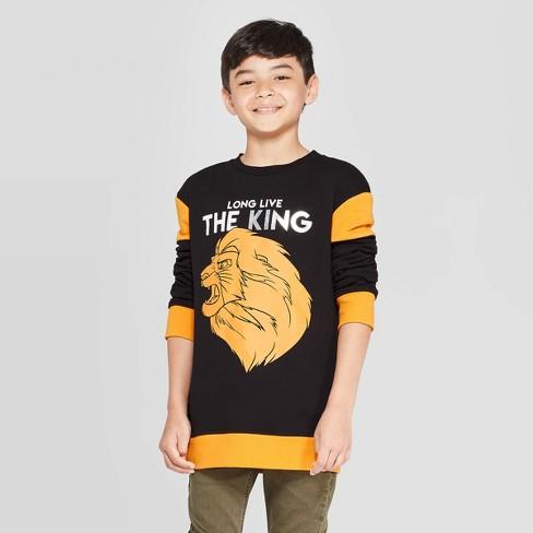 Boys' The Lion King Simba Long Live The King Crew Sweatshirt - Black - image 1 of 3