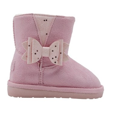 Rampage Toddler Girls' Little Kid Slip On Mid High Warm Winter Boots with Glitter Bows and Gusset