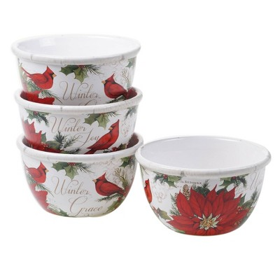22oz 4pk Earthenware Winter Gardens Ice Cream Bowls - Certified International