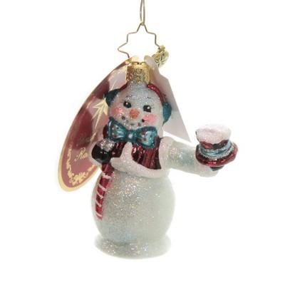"""Christopher Radko 3.25"""" Hats Off Snowman Gem Ornament Top Hat Glittered  -  Tree Ornaments"""