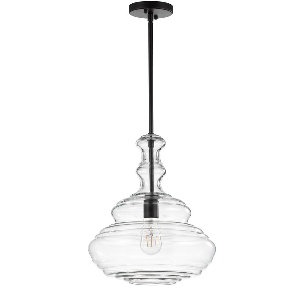 "Image of ""13.375"""" Bettina Glass/Metal LED Pendant Black (Includes Energy Efficient Light Bulb) - JONATHAN Y"""