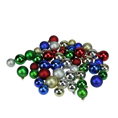 """Northlight 50ct Shatterproof Shiny and Matte Christmas Ball Ornament Set 2"""" - Red/Green"""