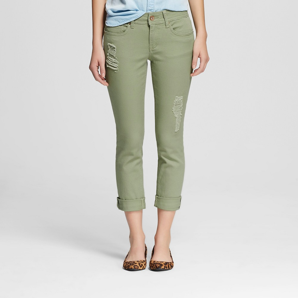 Women's Low Rise Destructed Skinny Jeans Sage Green 11 - Dollhouse (Juniors')