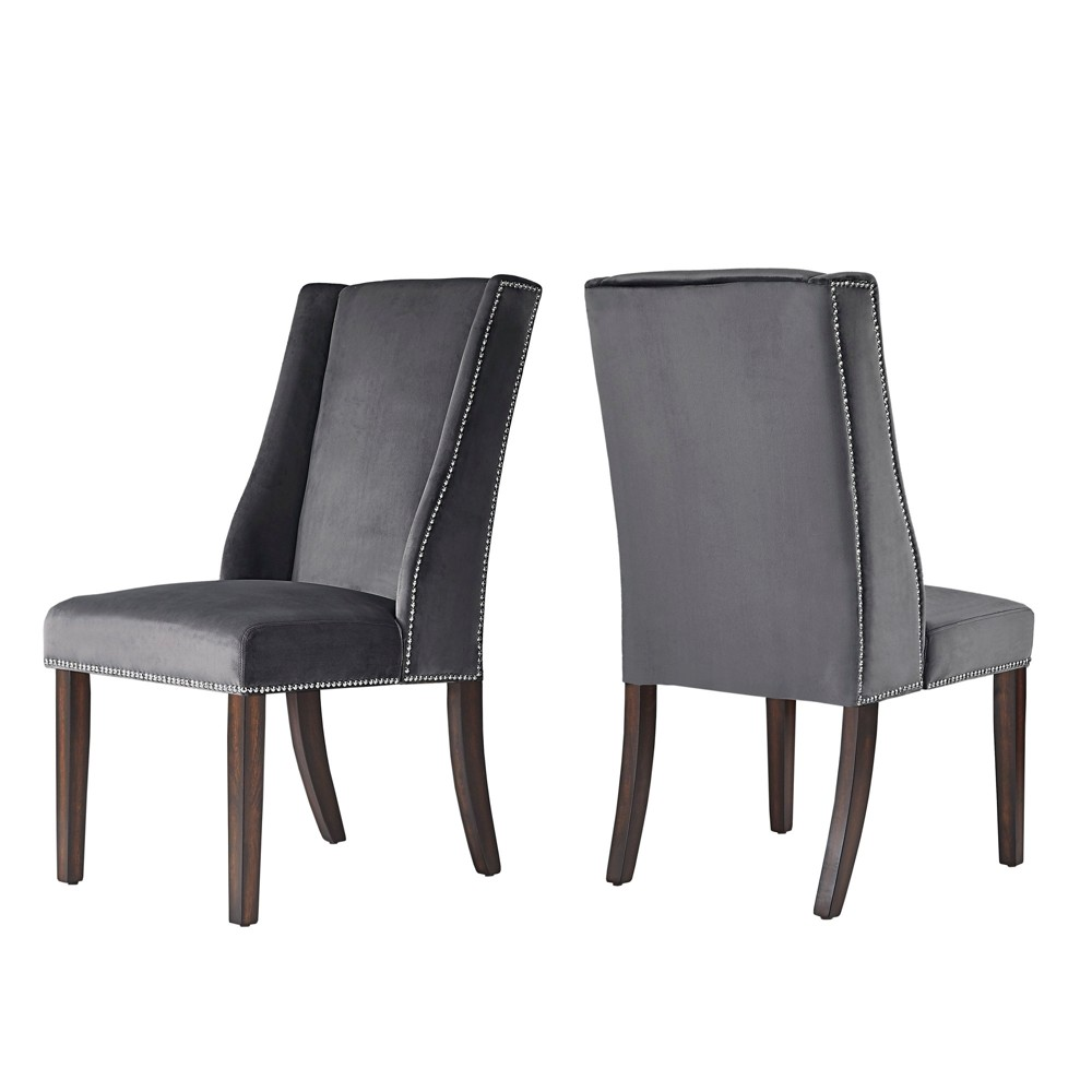 Harlow Velvet Wingback Dining Chair with Nailheads set of 2 Dark Gray - Inspire Q