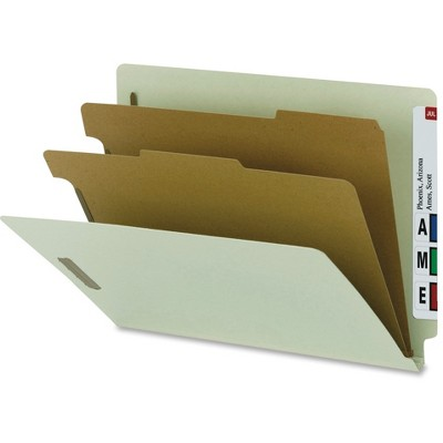 SP17252 Nature Saver End Tab Classification Folders,2 Dividers,Ltr,10//BX,GY Green