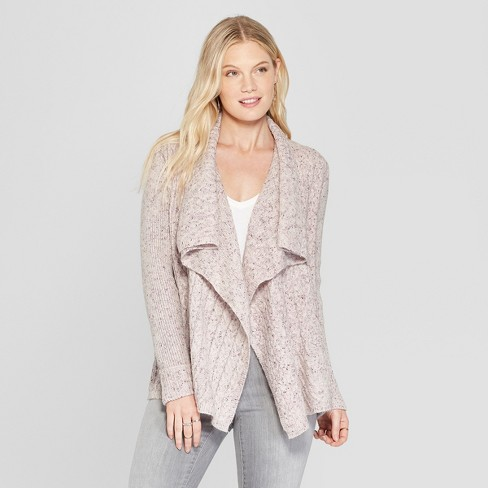 Women s Long Sleeve Cable Detail Open Cardigan - Knox Rose™ Dusty Rose fadad7876