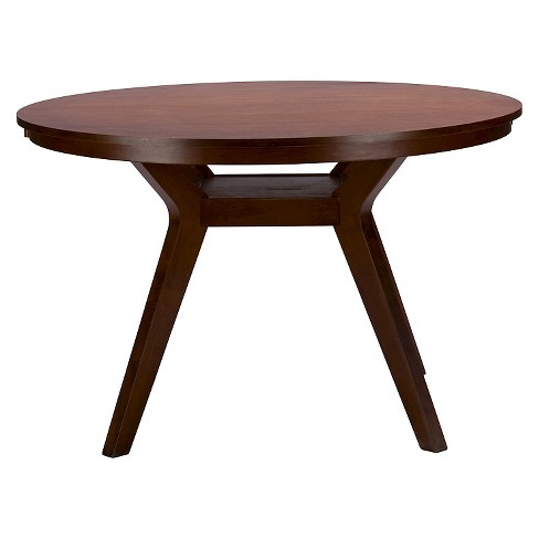 Montreal Mid Century Round Wood Dining Table Brown Walnut Baxton