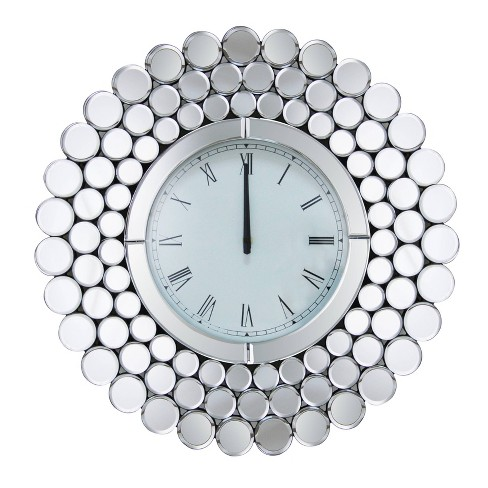 Rochelle Round Mirrored Wall Clock Silver - Abbyson Living - image 1 of 4