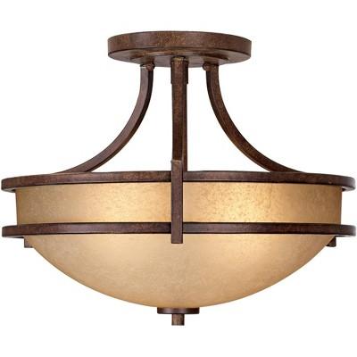 "Franklin Iron Works Rustic Farmhouse Ceiling Light Semi Flush Mount Fixture Bronze 18"" Wide Cream Scavo Glass Bowl Bedroom Kitchen"