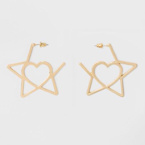 Open Star With Inner Heart Earrings Gold