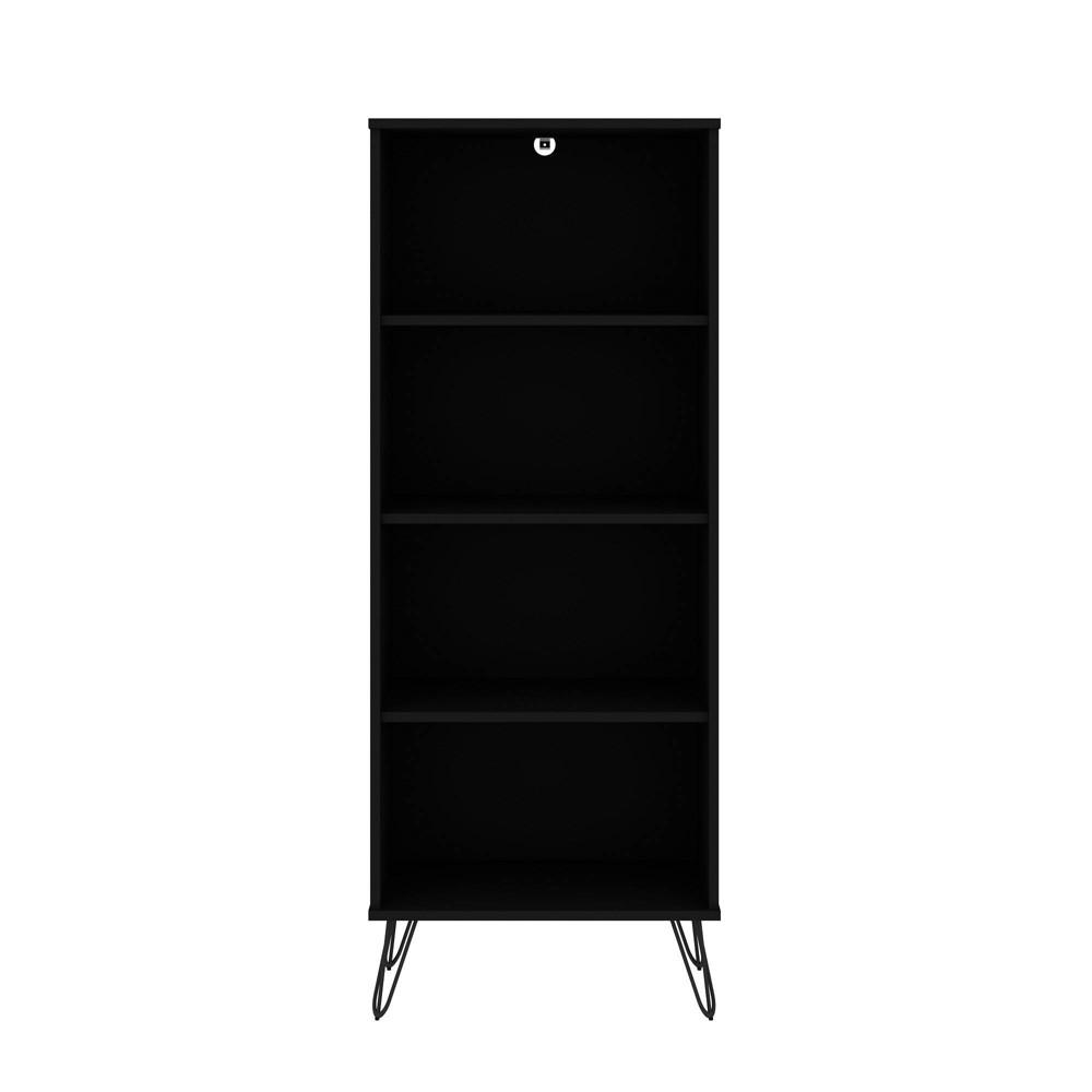 54 33 34 Rockefeller 4 Shelf Bookcase Black Manhattan Comfort