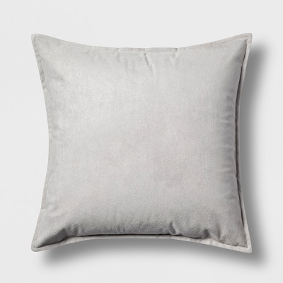Faux Suede Square Throw Pillow Gray - Project 62™