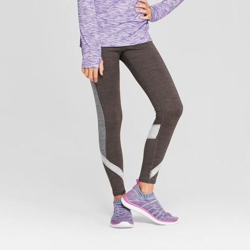 Girls' Tri Color Blocked Leggings - C9 Champion® Black L - image 1 of 3