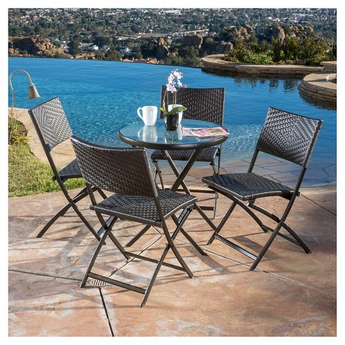Magnificent El Paso 5Pc Wicker Patio Folding Dining Set Brown Christopher Knight Home Machost Co Dining Chair Design Ideas Machostcouk