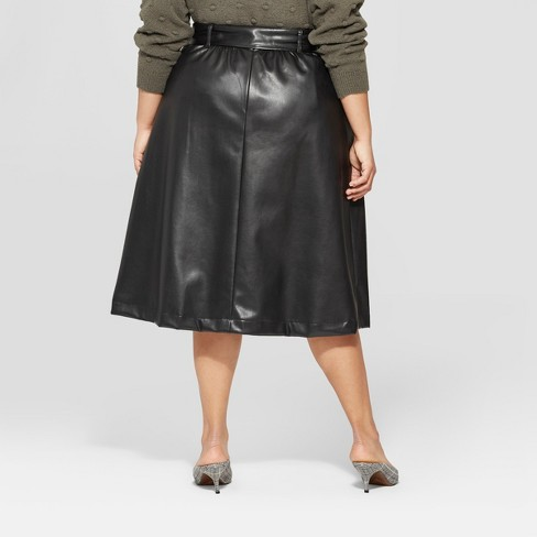 Women\'s Plus Size Belted Leather Skirt - Who What Wear™ Black 22W ...