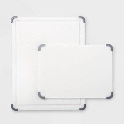 2pc Nonslip Poly Cutting Board Set White - Made By Design™
