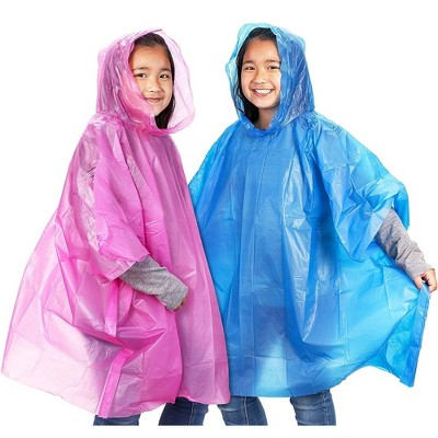 Juvale 10 Pack Kids Disposable Emergency Rain Ponchos with Hood, Pink & Blue, 40.5 x 37 In