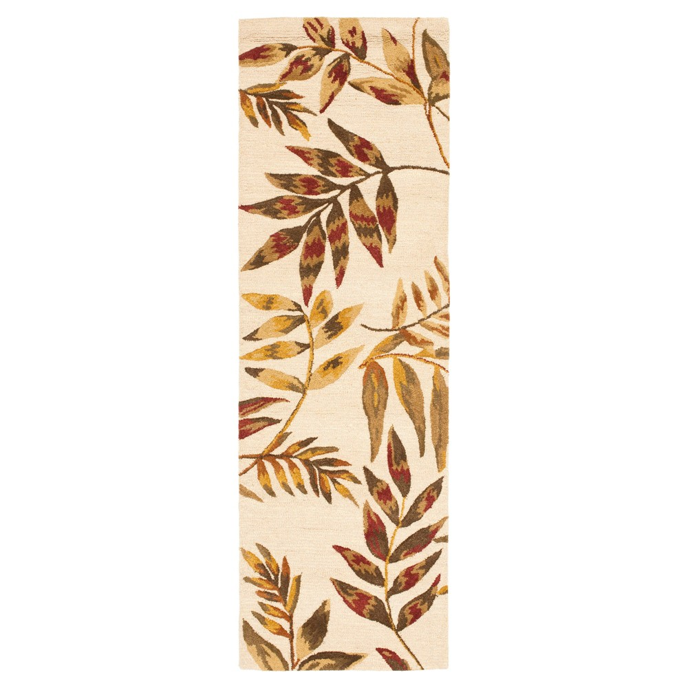Beige/Multi Botanical Hooked Runner - (2'6X8' Runner) - Safavieh, Multicolored Beige
