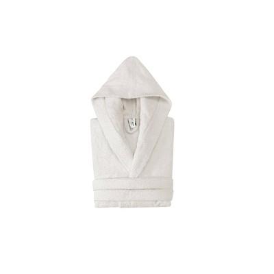 Hooded Turkish 100% Cotton Bathrobe Cream - Enchante Home