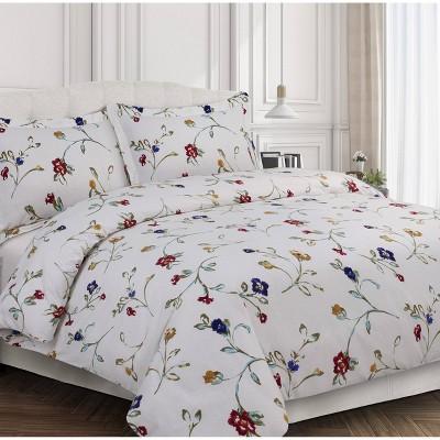 Floral Garden Cotton Flannel Printed Oversized Duvet Set - Tribeca Living
