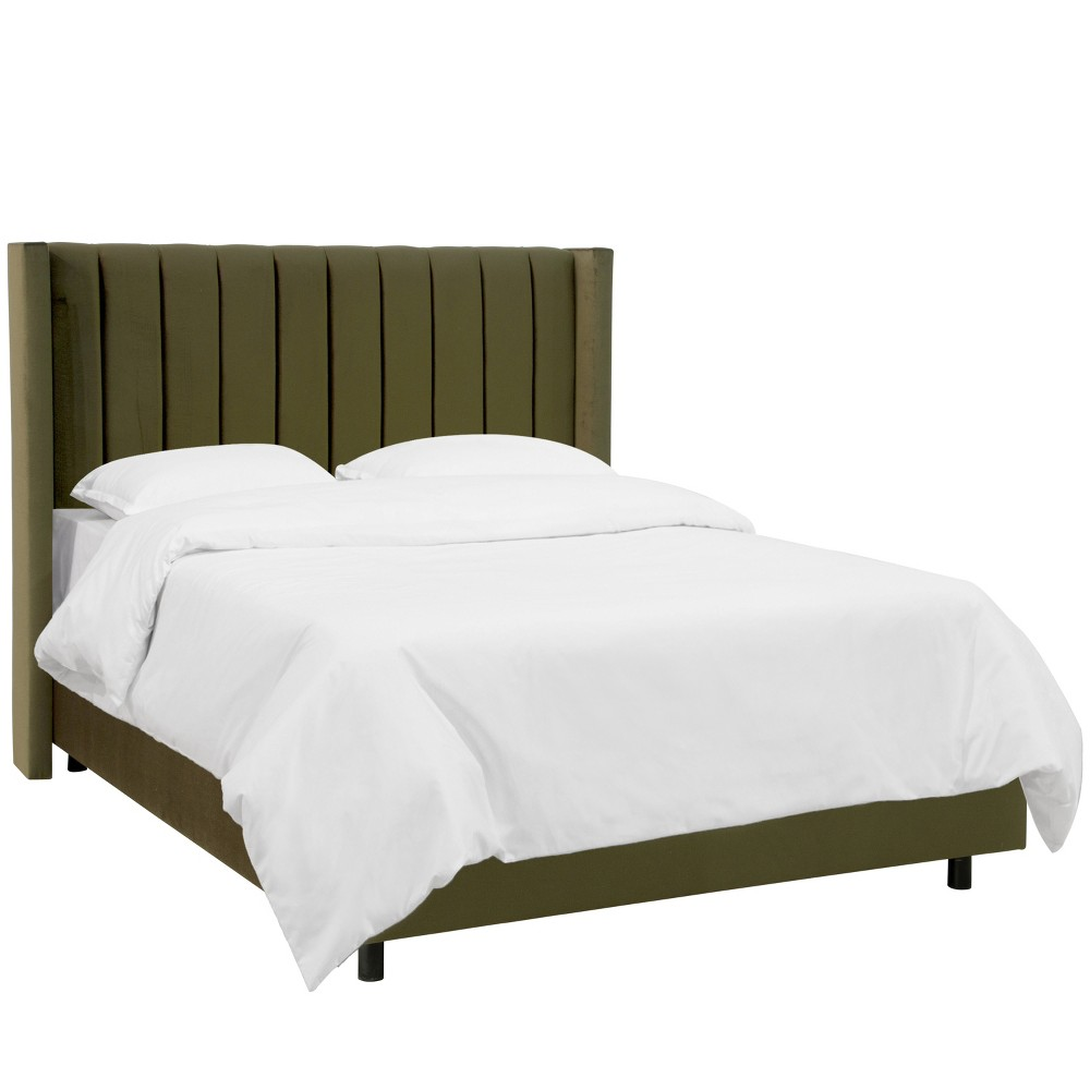 Vern Channel Seam Wingback Bed - King - Bach Forest - Skyline Furniture, Green