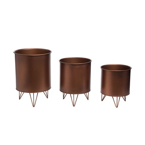 Set of 3 Copper Metal Decorative  Storage Nesting Bins with Hairpin Legs - Foreside Home & Garden - image 1 of 4