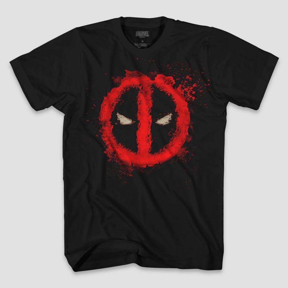 Men's Tall Short Sleeve Marvel Deadpool Logo T-Shirt - Black LT