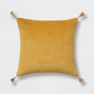 "18""x18"" Velvet Square Throw Pillow Yellow - Threshold™"