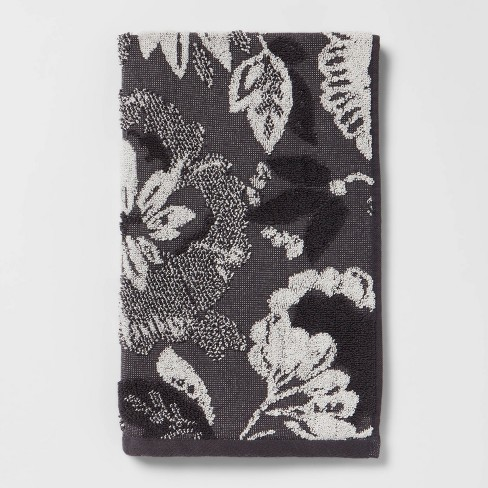 Floral Hand Towel Black/White - Threshold™ - image 1 of 4