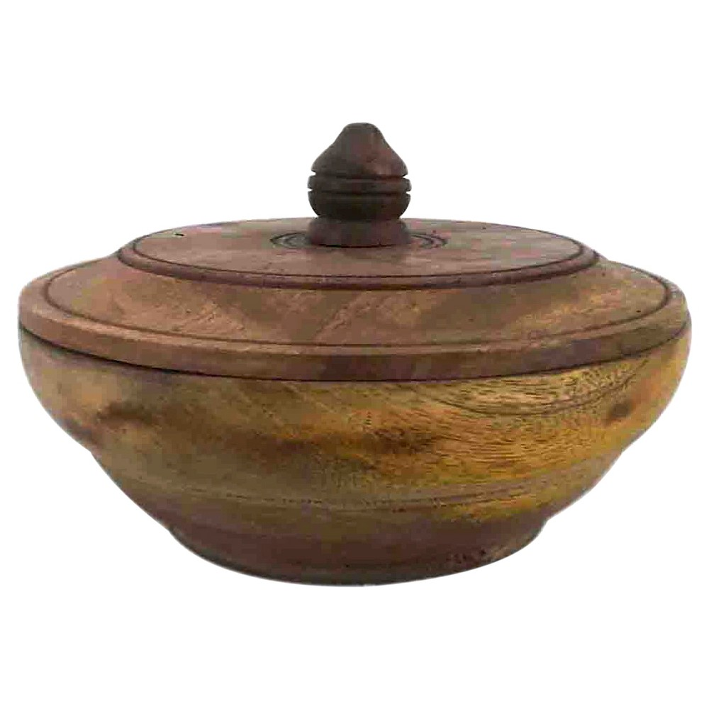 Image of A&b Home Wooden Jar With Lid (9X6)