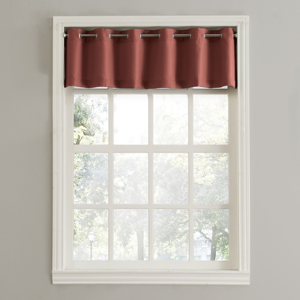 Montego Casual Textured Grommet Kitchen Curtain Valance Paprika (Red) (56
