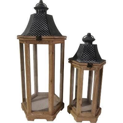 "2pc 27"" Wood Outdoor Lantern Set - Brown - Backyard Expressions"