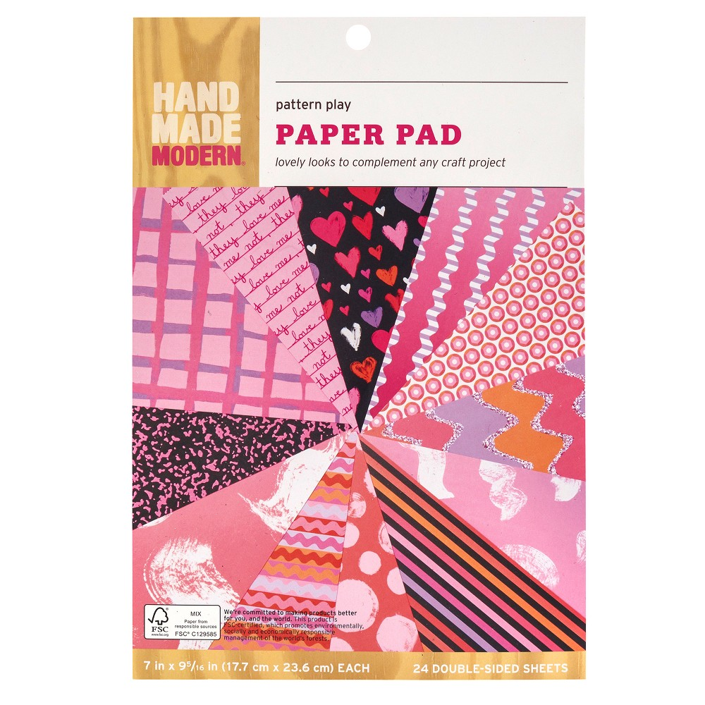 Hand Made Modern Pattern Play Paper Pad, Red