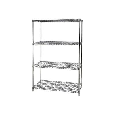 "Staples Wire Shelving 4 Shelves 72"" x 48"" x 24"" Chrome 306975"