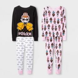 Girls' L.O.L. Surprise! 4pc Pajama Set - Black/Pink